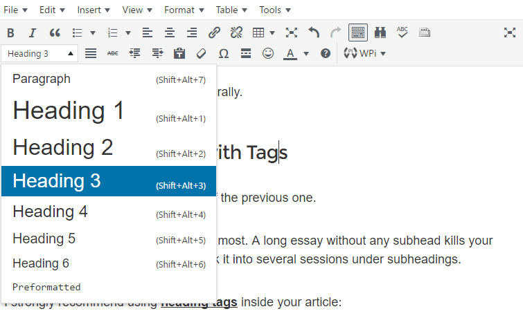 Use Subheadings with Tags